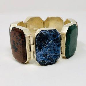 Jewelry - Sterling, multi-gemstone bracelet, 146g